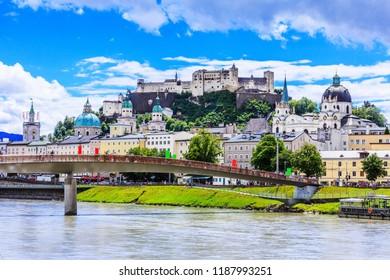 Salzburg, Austria. Festung Hohensalzburg fortress, Salzburger Dom and Salzach river