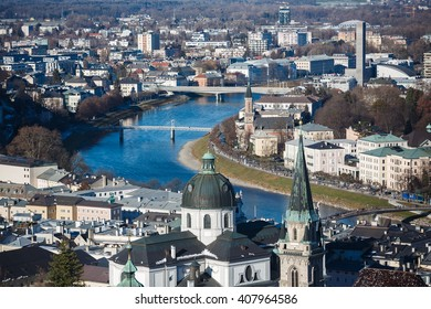 Salzburg, Austria - January 07 2016: View of the cityscape from top of Hohensalzburg Castle