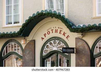 Salzburg, Austria - January 07 2016: Facade of the oldest pharmacy, located on Alter Markt square, historic centre of the city