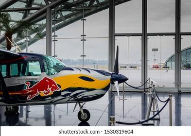 Salzburg / Austria January 19, 2019: Cessna 337 Skymaster Push Pull airplane exhibited in Red Bull Hangar 7 Museum in Salzburg.