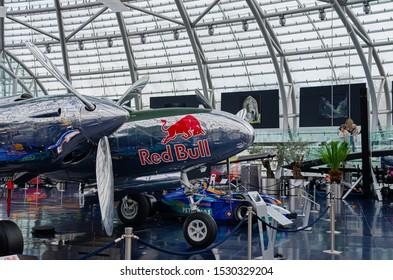 Salzburg / Austria January 19, 2019: North American B-25J Mitchell bomber airplane presented in Red Bull Hangar 7 Museum in Salzburg.