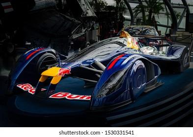 Salzburg / Austria January 19, 2019: Red Bull Gran Turismo prototype car model exhibited in Red Bull Hangar 7 Museum in Salzburg.