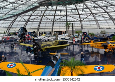 Salzburg / Austria January 19, 2019: Red Bull Airplanes collection exhibited in Red Bull Hangar 7 Museum in Salzburg.