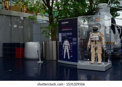 Salzburg / Austria January 19, 2019: Red Bull Stratos and Felix Baumgartner space suit exhibited in Red Bull Hangar 7 Museum in Salzburg.