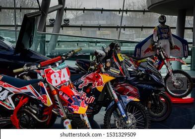 Salzburg / Austria January 19, 2019:  Red Bull Team enduro motorcycles exhibited in Red Bull Hangar 7 Museum in Salzburg.