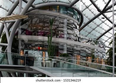 Salzburg / Austria January 19, 2019: Glass restaurant room in Red Bull Hangar 7 Museum in Salzburg.