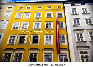 Salzburg, Austria - July 15, 2017: Birthplace of the famous composer Wolfgang Amadeus Mozart