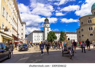 Salzburg, Austria -July 15.2017: Rezidenzplatz (Residence Square) in Salzburg with huge fountain. Austria