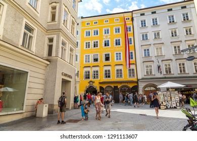SALZBURG, AUSTRIA - JULY 25, 2017: The birthplace of Wolfgang Amadeus Mozart in Salzburg in a beautiful summer day, Austria