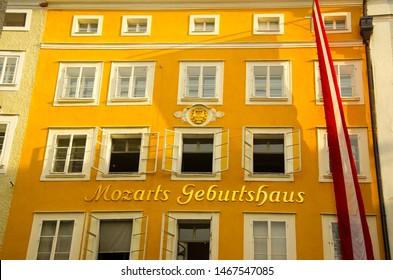 SALZBURG, AUSTRIA, JULY. 8. 2016: Mozart Geburtshaus, place of birth of Wolfgang Amadeus Mozart