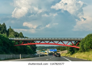 Salzburg, Austria June 10, 2018: Austrian motorway with directions to go to the city of Vienna and Linz