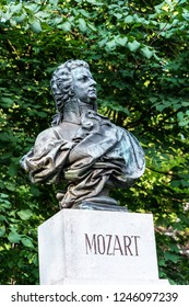 SALZBURG/ AUSTRIA JUNE 2018 - Monument to Mozart on the top of the Kapuzinerberg in Salzburg Austria