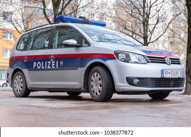 SALZBURG, AUSTRIA - March 03, 2018: Austrian police car in front of the police station near the main train station in Salzburg Austria