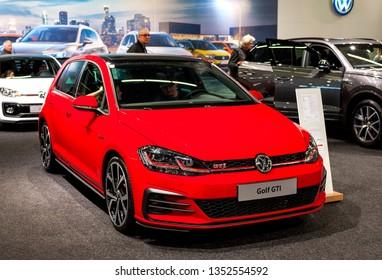 Salzburg, Austria . March 24 , 2019 : 2019 VW Golf GTI Stylish Hot Hatchback car presented at the at the Automesse Salzburg 2019