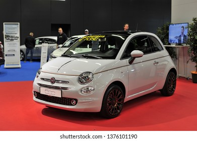 Salzburg, Austria . March 24 , 2019 : The new FIAT 500 2018 car presented at the at the Automesse Salzburg 2019