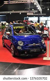 Salzburg, Austria . March 24 , 2019 : The new FIAT Abarth 595 Competizione 2019 car presented at the at the Automesse Salzburg 2019