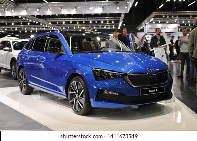 Salzburg, Austria . March 24 , 2019 : metallic blue all new Skoda Scala 2019 car presented at the at the Automesse Salzburg