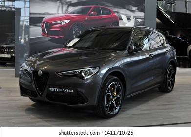 Salzburg, Austria . March 24 , 2019 : Alfa Romeo Stelvio car presented at the at the Automesse Salzburg , type 949 is all wheel drive compact luxury crossover SUV manufactured by Alfa Romeo