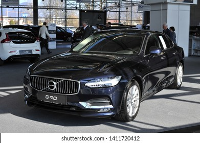 Salzburg, Austria . March 24 , 2019 : Volvo S90 T8 limousine , car presented at the at the Automesse Salzburg , executive sedan manufactured by Swedish automaker Volvo Cars