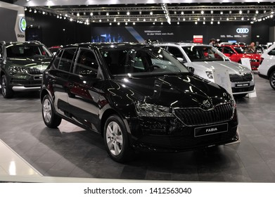 Salzburg, Austria . March 24 , 2019 : Black Skoda FABIA atat the at the Automesse Salzburg , Third generation facelift, Typ NJ, MK3, supermini car produced by Czech automobile manufacturer