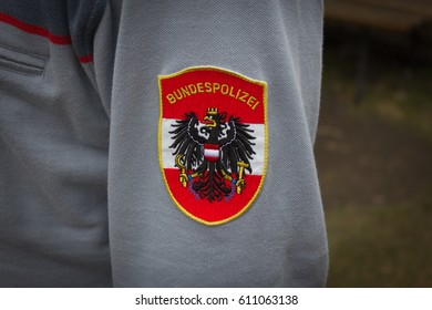 SALZBURG, AUSTRIA - March 26, 2017 - Emblem of the austria federal police