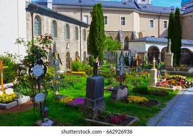 Salzburg, Austria - May 01, 2017: The St. Peter's Cemetery at Salzburg