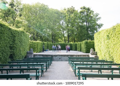 SALZBURG, AUSTRIA - MAY 11, 2017: Unidentified People  Doing activities in Mirabell garden of Salzburg's old city.