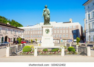 SALZBURG, AUSTRIA - MAY 18, 2017: Mozart monument statue at the Mozartplatz square in Salzburg, Austria. Wolfgang Amadeus Mozart was influential austrian composer of classical era.