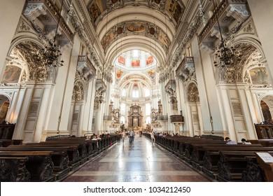 SALZBURG, AUSTRIA - MAY 19, 2017: Salzburg Cathedral or Salzburger Dom interior. Salzburg Cathedral is the baroque roman catholic church in Salzburg, Austria.