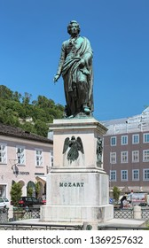 SALZBURG, AUSTRIA - MAY 22, 2017: Mozart Monument at Mozartplatz. The monument was designed by Ludwig Schwanthaler, casted in bronze by Johann Baptist Stiglmaier, and unveiled on September 5, 1842.
