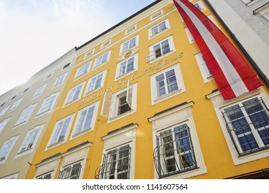 SALZBURG, AUSTRIA - MAY 23, 2018 : Mozarts Geburtshaus is the Mozart's birthplace is the most famous to visit in Salzburg, Austria.