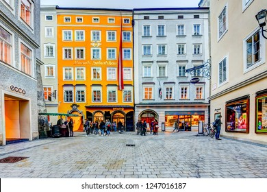 Salzburg, Austria - November 11, 2018: Birth place building of Wolfgang Amadeus Mozart in Salzburg Austria