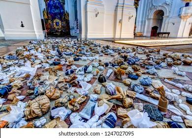 Salzburg, Austria - November 11, 2018: Six portraits by Oskar Stocker and a memorial to Krystallnacht by Luis Rivera in Kollegienkirche cathedral in Salzburg Austria