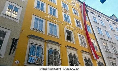 SALZBURG, AUSTRIA - NOVEMBER 8, 2015:   Salzburg is an Austrian city on the border of Germany, in its old town there is a birthplace house, and museum, of famed composer Wolfgang Amadeus Mozart.