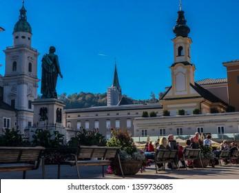 Salzburg/ Austria - October 10, 2018: Mozart Monument, imposing on the Mozart Square in Salzburg, Austria.