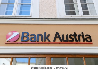 SALZBURG, AUSTRIA - OCTOBER 15, 2017: Bank Austria office in Salzburg city centre, Austria