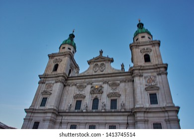 Salzburg, Austria - October 2018: Details and statues in front of the  Interior of Salzburg Cathedral. Exterior view of  Salzburger, it is a baroque roman catholic church in Salzburg, Austria, Europe