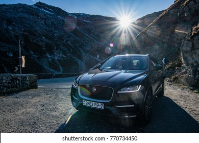 SALZBURG, AUSTRIA - OCTOBER 21, 2017: Jaguar F-Pace in the journey across Europe. F-Pace is a first SUV by Jaguar, it is a performance SUV that combines maximum driving exhilaration with efficiency.