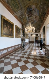 SALZBURG, AUSTRIA - OCTOBER 23, 2017: Baroque State Rooms of the Residenz in the DomQuartier, a unique cultural highlight in the heart of Salzburg City.