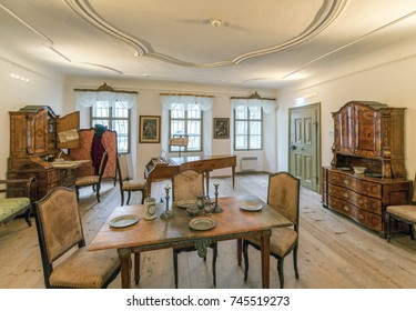 SALZBURG, AUSTRIA - OCTOBER 23, 2017: Interior of Mozart Gebursthaus  (Birstplace) Museum. The house in which Mozart was born in 1756 is now one of the most frequently visited museums in the world.