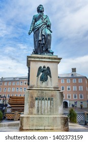 Salzburg, Austria - October 29, 2018: Statue of Wolfgang Amadeus Mozart on Mozartplatz or Mozart Square in old city of Salzburg