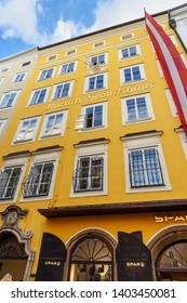 Salzburg, Austria - October 29, 2018: Mozart's Birthplace Museum.Mozart family resided on the third floor from 1747 to 1773