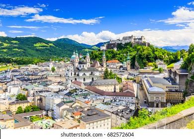 Salzburg, Austria. Old town with Festung Hohensalzburg fortress and Salzburger Dom.