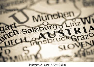 Salzburg, Austria on a map