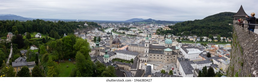 Salzburg, Austria - September 02 2013: Aerial view of the historic ('Altstadt') city center from the Hohensalzburg fortress