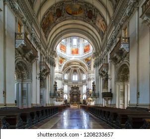 Salzburg , Austria - September 10 , 2018 : Beautiful interior designed in Salzburg Cathedral , Baroque cathedral of the Roman Catholic Archdiocese of Salzburg in the city of Salzburg