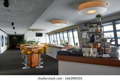 Salzburg, Austria - September 2018: Indoors VIP area at Red Bulls arena