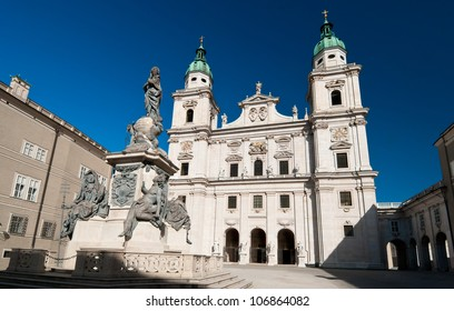 The Salzburg Cathedral (Salzburger Dom) on a sunny day