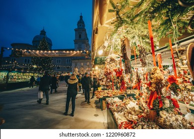 Salzburg Christmas Market in Residenzplatz at night