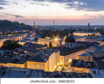 Salzburg City Skyline, Aerial View of Mozart-Wohnhaus, Pfarre Mulln, Salzburger Landestheater, Dreifaltigkeitskirche, Mozarteum University of Salzburg, Hotel Sacher Salzburg, Hotel Bristol, Austria